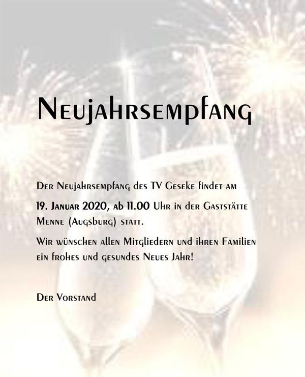 Neujahrsempfang am 19.!